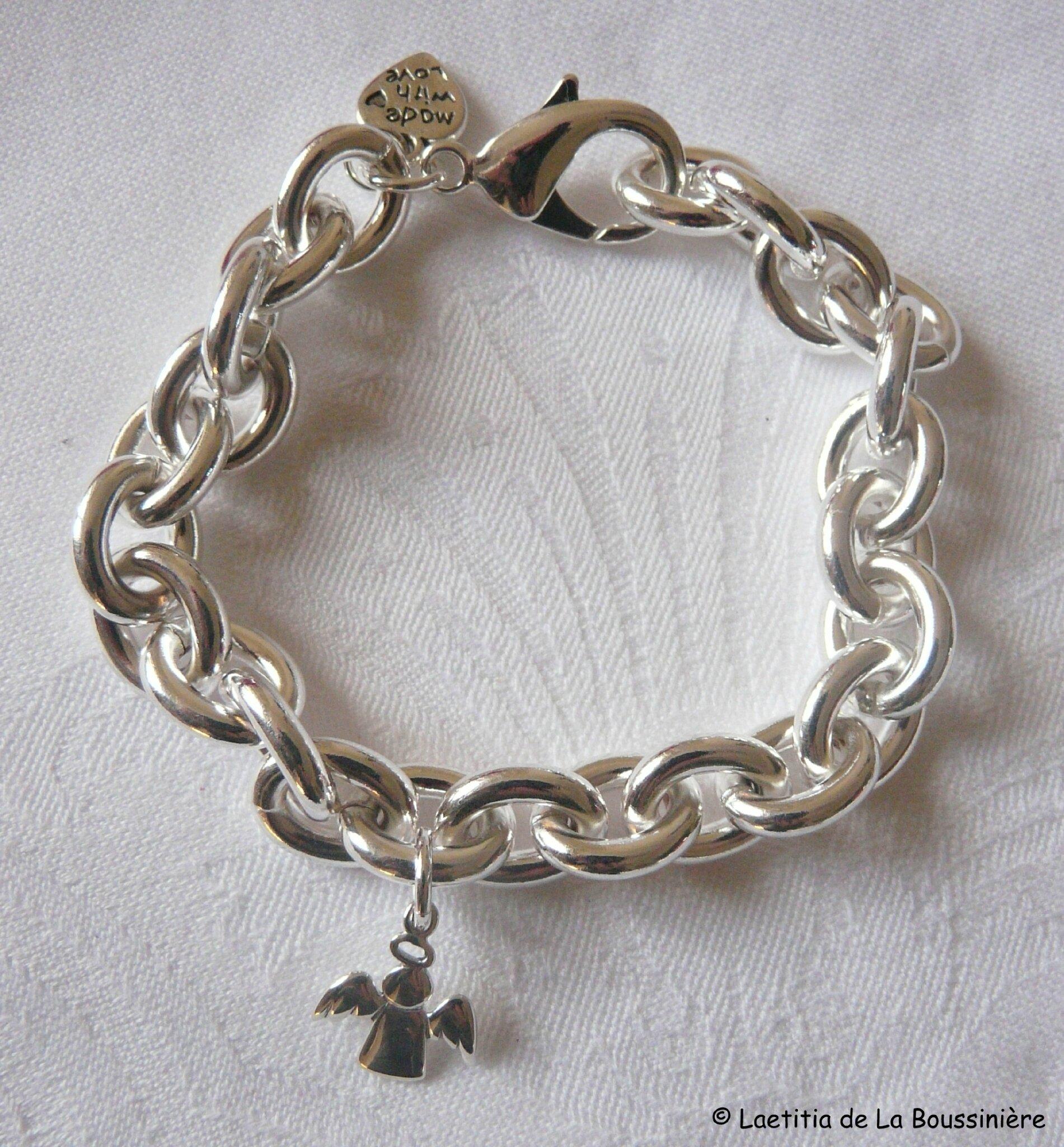 Bracelet Ange sur chaîne plaqué argent ovale