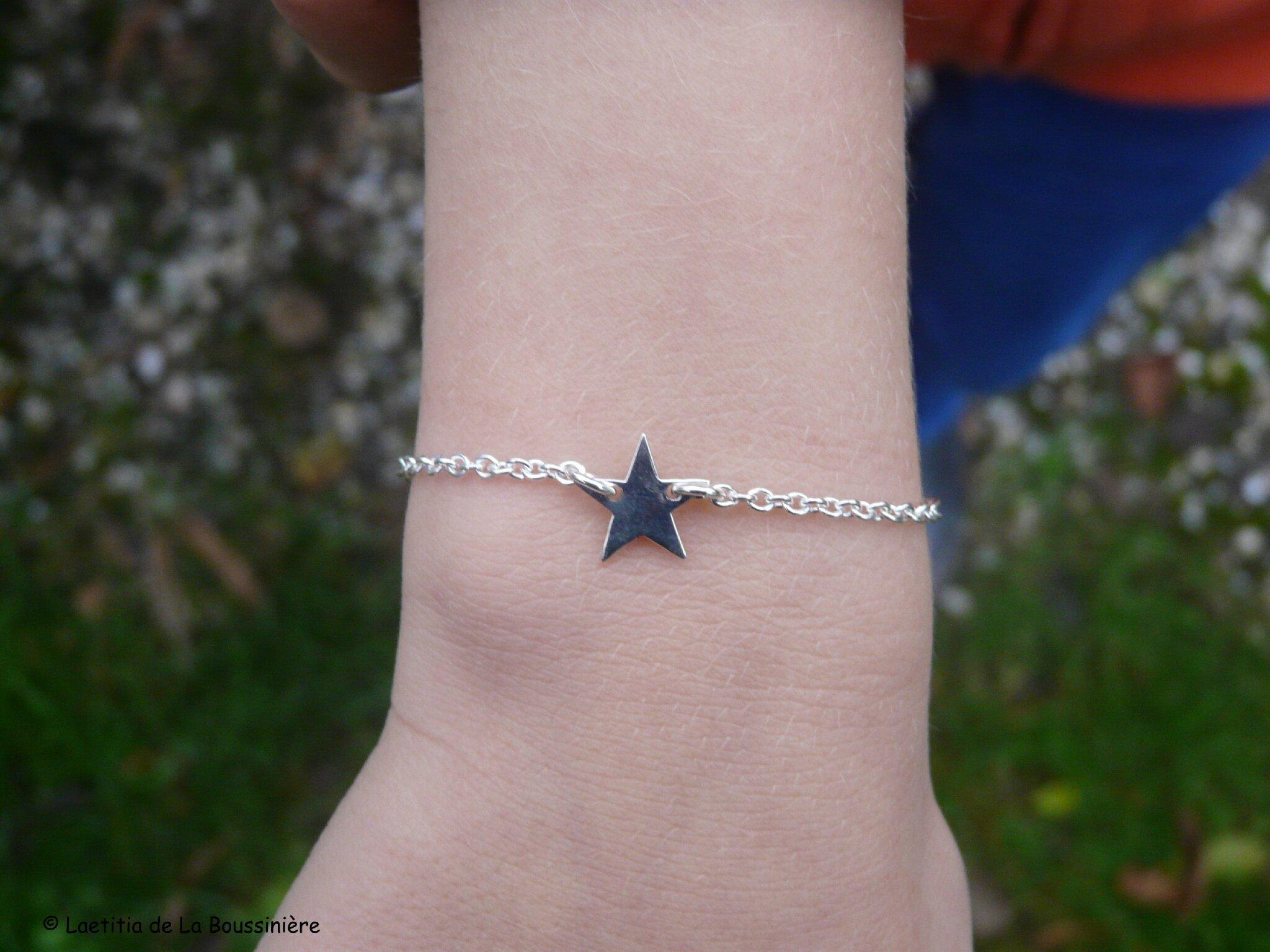 Bracelet Etoile Girl sur chaîne argent massif