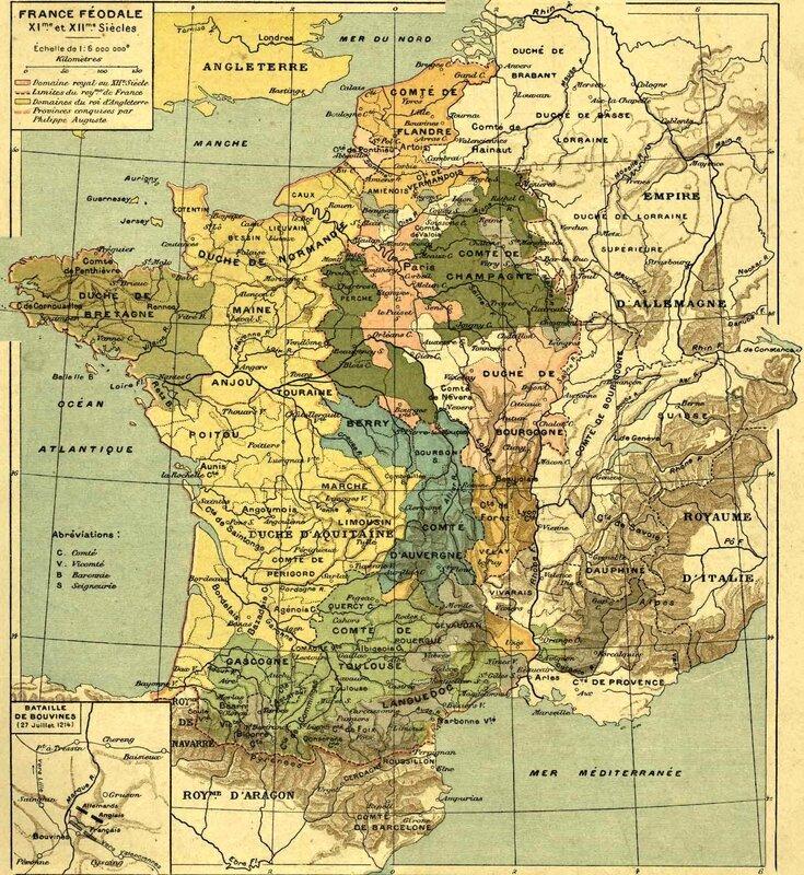 France féodale XI et XIIe siècle carte