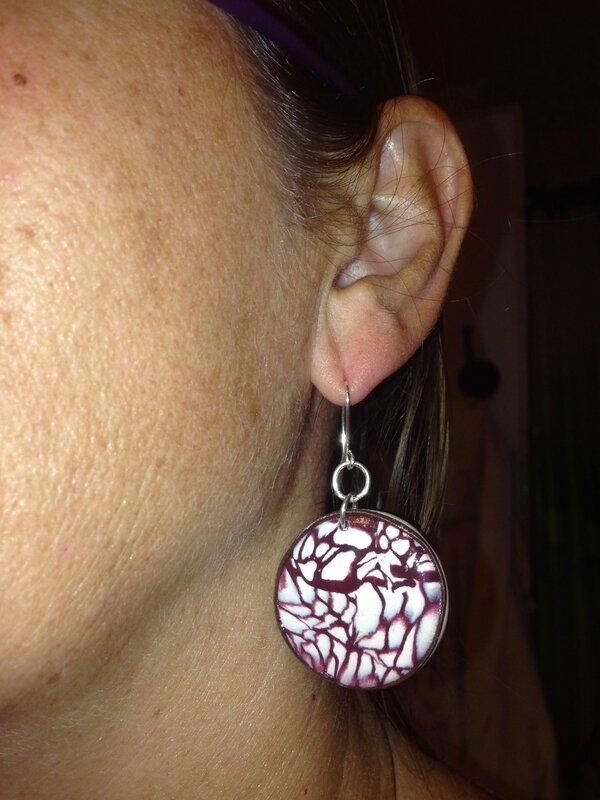 coco nut like polymer clay earrings
