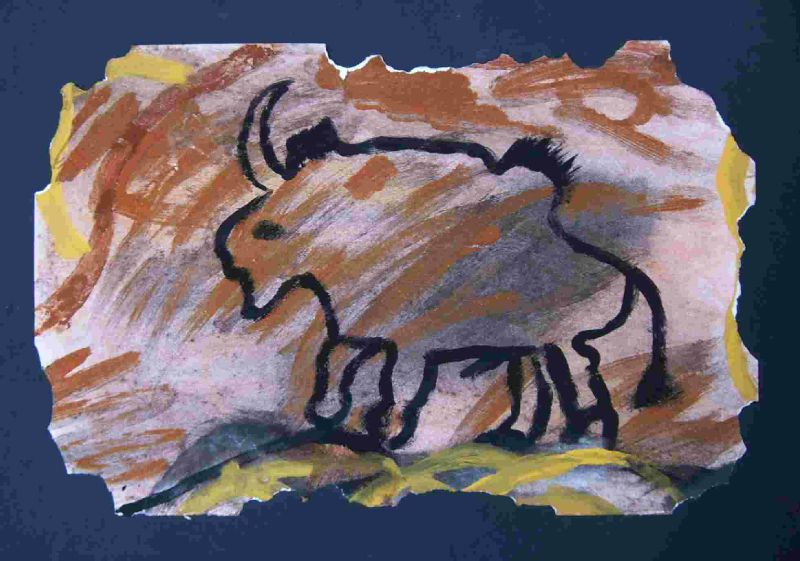 Art rupestre bison sables colorés - Inspiration art préhistorique - Art pariétal enfant