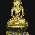 A sino-tibetan gilt-bronze figure of amitayus, 17th-18th century