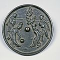 Bronze Mirror with Design of Football Playing