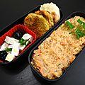 Falafels, feta, pita et houmous, accompagné d'une purée sarrsin carotte