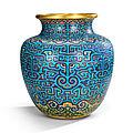 A rare and large imperial archaistic gilt-bronze and cloisonné enamel vase, zun, qianlong period