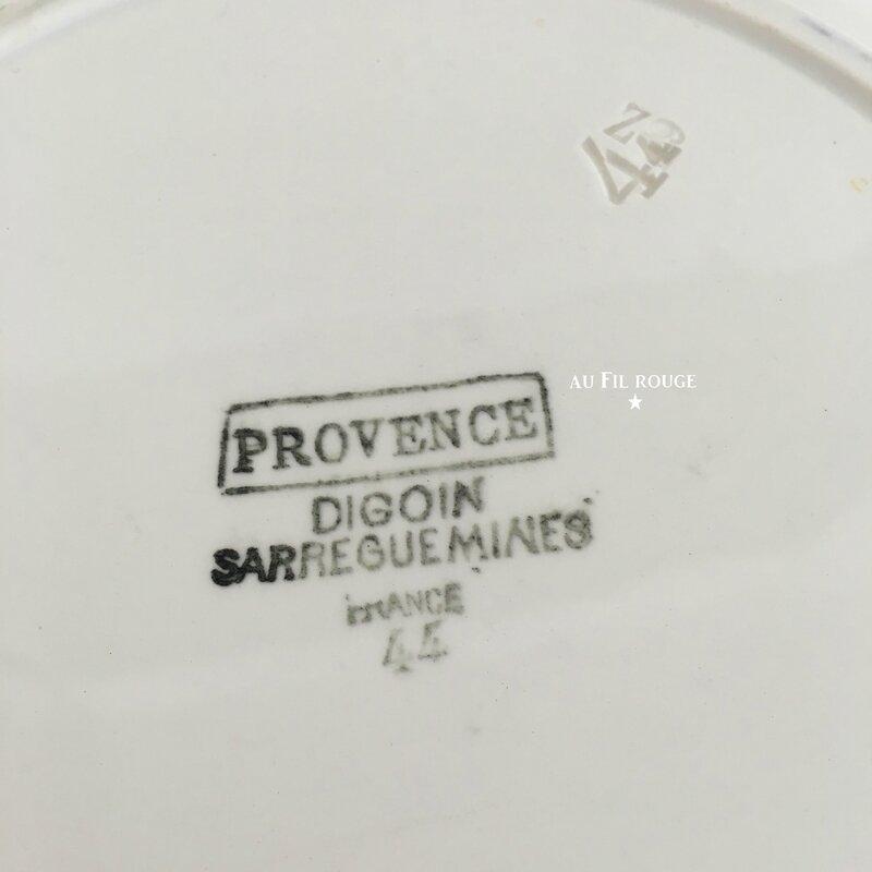 Plat de service rond Provence 27 cm estampille