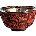 Carved red lacquer ming bowl, china, ming dynasty, 1368 - 1644