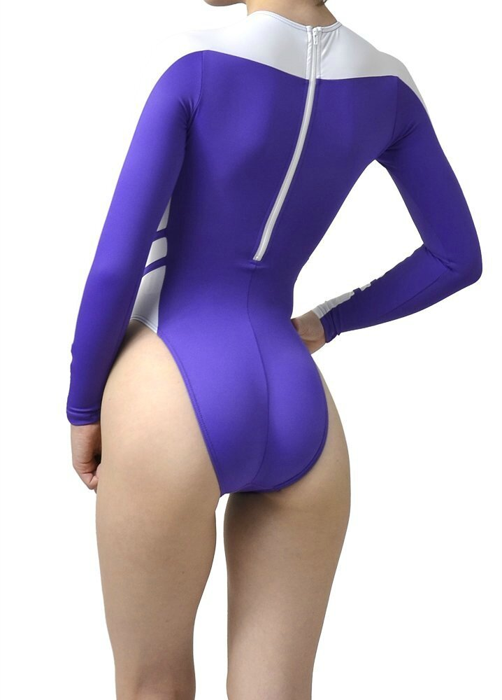 highleg long-sleeved swimsuits n-015 purple & wite Back