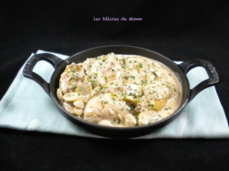Hauts de cuisses de poulet à la crème et aux champignons 2