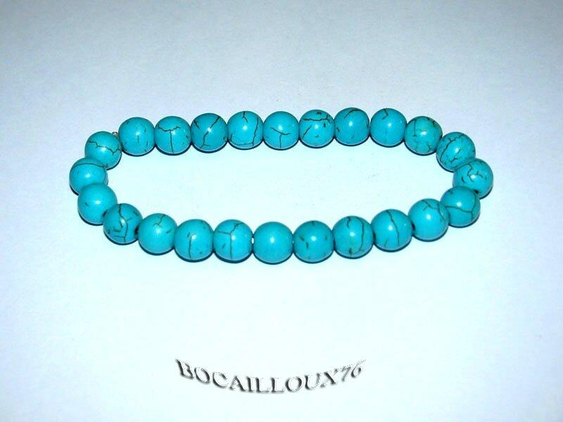 Bracelet HOWLITE Turquoise Perles 3 (2)