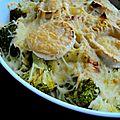 Gratin de tagliatelle, chèvre-brocoli