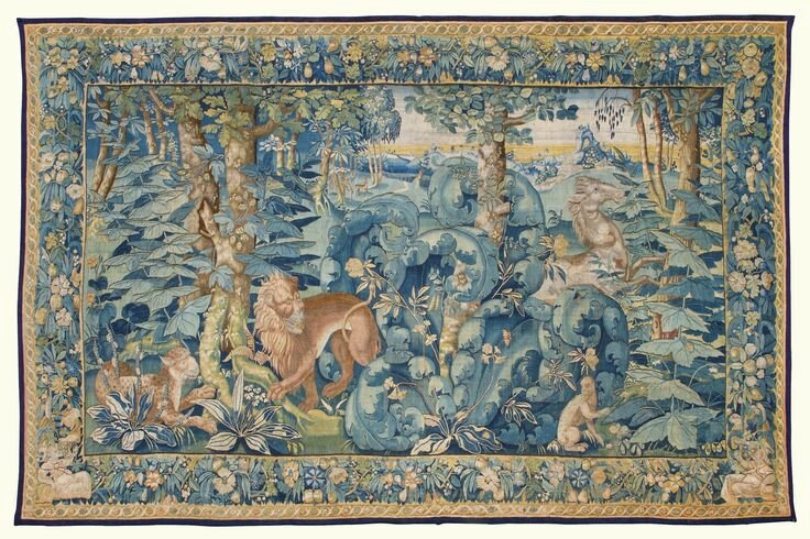 A Flemish large leaf wild park tapestry, probably Oudenaarde, circa 1560-1600