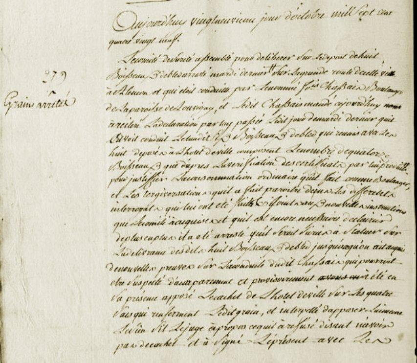 Le 29 octobre 1789 à Mamers : serment des d'adjoints et arrêt de grains.