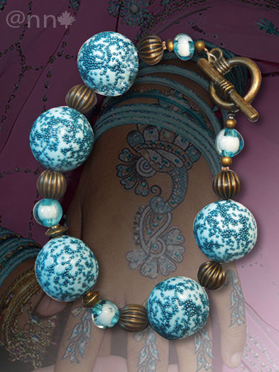 Bracelet fimo turquoise et micro billes bleues, bronze AC (N)