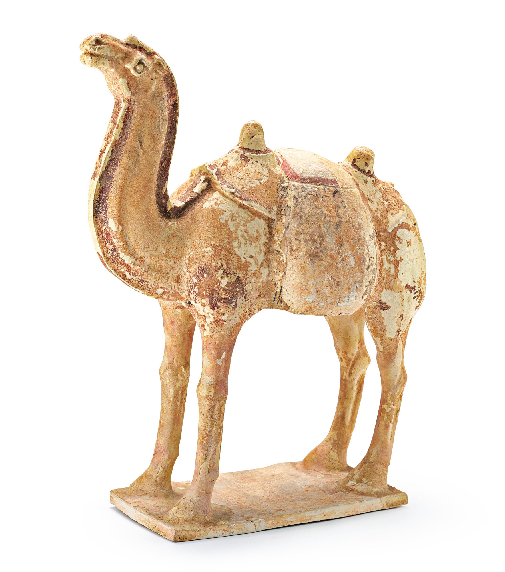 A painted pottery figure of a camel, early Tang dynasty (618-906)