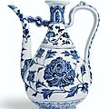 An extremely rare blue and white 'peony' ewer, Ming Dynasty, Yongle period (1403-1424)