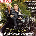 Johnny dans paris match du 06 novembre 2011.