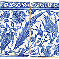 Two blue and white pottery tiles ottoman turkey or provinces, late 16th century