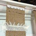 Guirlande vieux papiers et toile de jute et dentelle