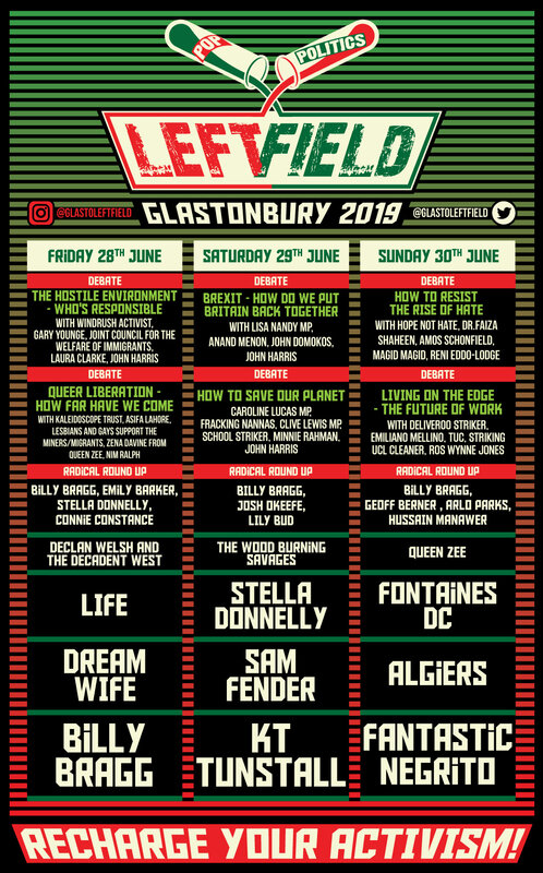 Glastonbury_festival_2019_Left Field_Left Field stage_Billy Bragg_line-up_programmation_poster_affiche