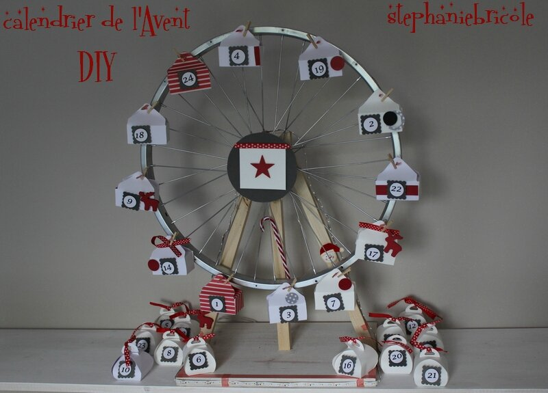 diy faire soi m me un calendrier de l 39 avent grande roue de v lo st phanie bricole. Black Bedroom Furniture Sets. Home Design Ideas