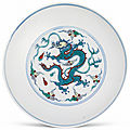 A doucai 'dragon' dish, qing dynasty, 18th century