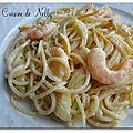 Spaghettis aux crevettes, fenouil rôti et orange