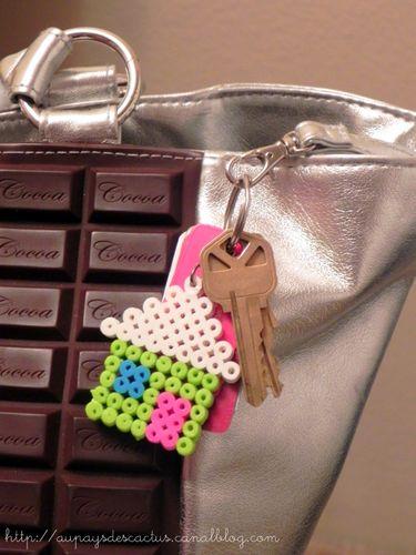 Porte-clé maisonnette Melty beads Au pays des Cactus