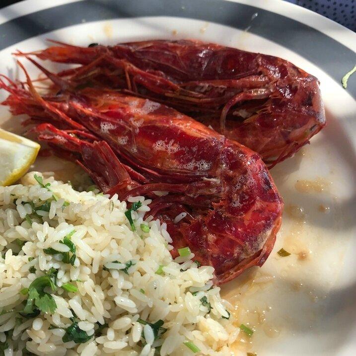 Crevettes rouges, riz