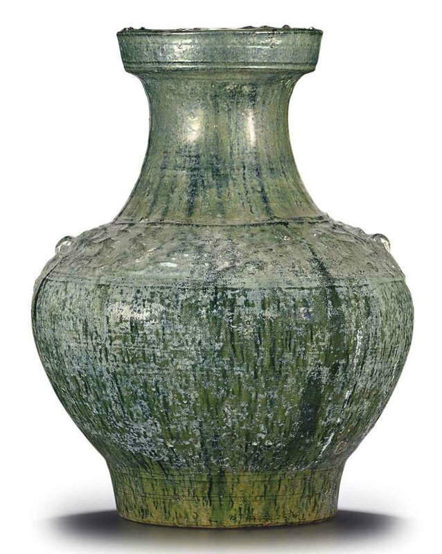 A large green-glazed red pottery jar, hu, Han dynasty (206 BC-AD 220)
