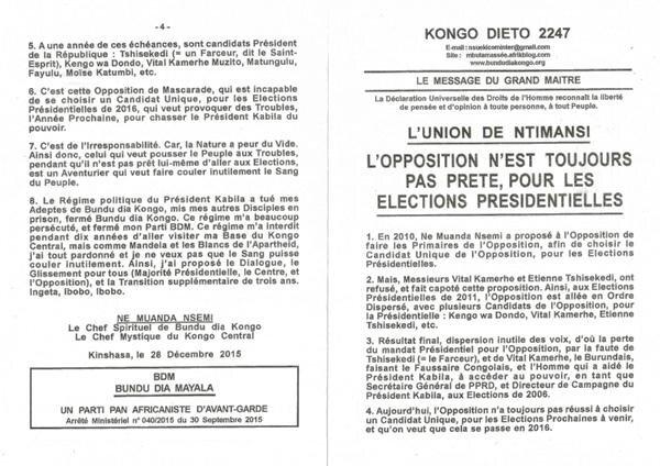 L'OPPOSITION N'EST PAS TOUJOURS PRETES POUR LES ELECTIONS PRESIDENTIELLES a