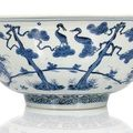 A very large blue and white 'three friends' porcelain bowl, china, marked fu gui jia qi, jiajing-longqing period