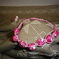 Perles rondes et plates aux couleurs rose et blanc