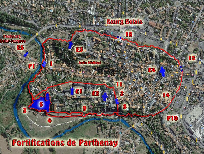Plan des fortifications et remparts de Parthenay