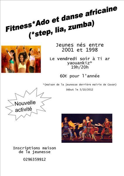affiche zumba et fitness ados