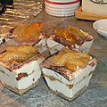 Verrines fromage blanc et poires caramélisées
