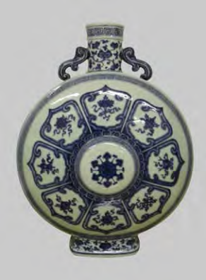 Blue and white 'bajixiang' moonflask, Qianlong seal mark and period, 50cm high; Image courtesy of the Palace Museum, Beijing