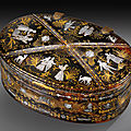 An oval tortoiseshell, mother-of-pearl and gold piqué box, naples, first half 18th century