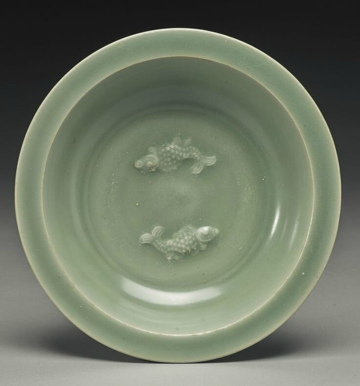 A 'Longquan' celadon 'Twin Fish' dish, Song Dynasty1