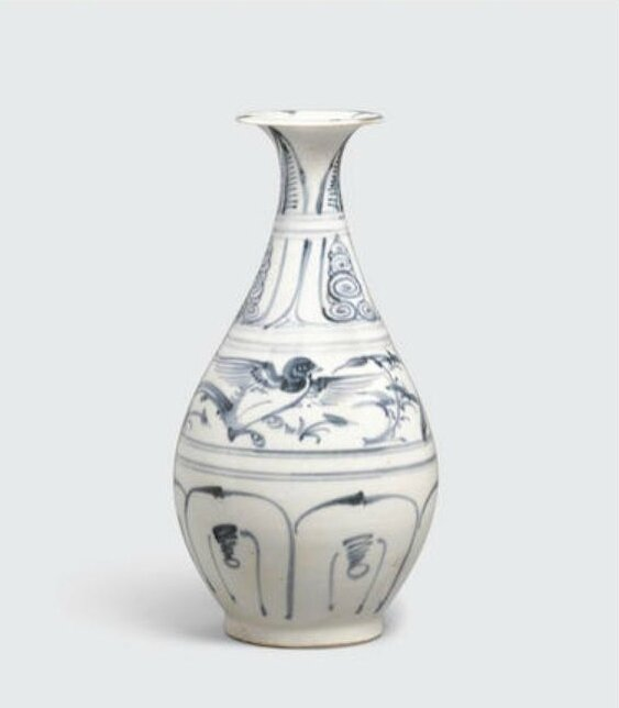 A blue and white bottle, bình Tỳ Bà, Lê dynasty, 15th-16th century