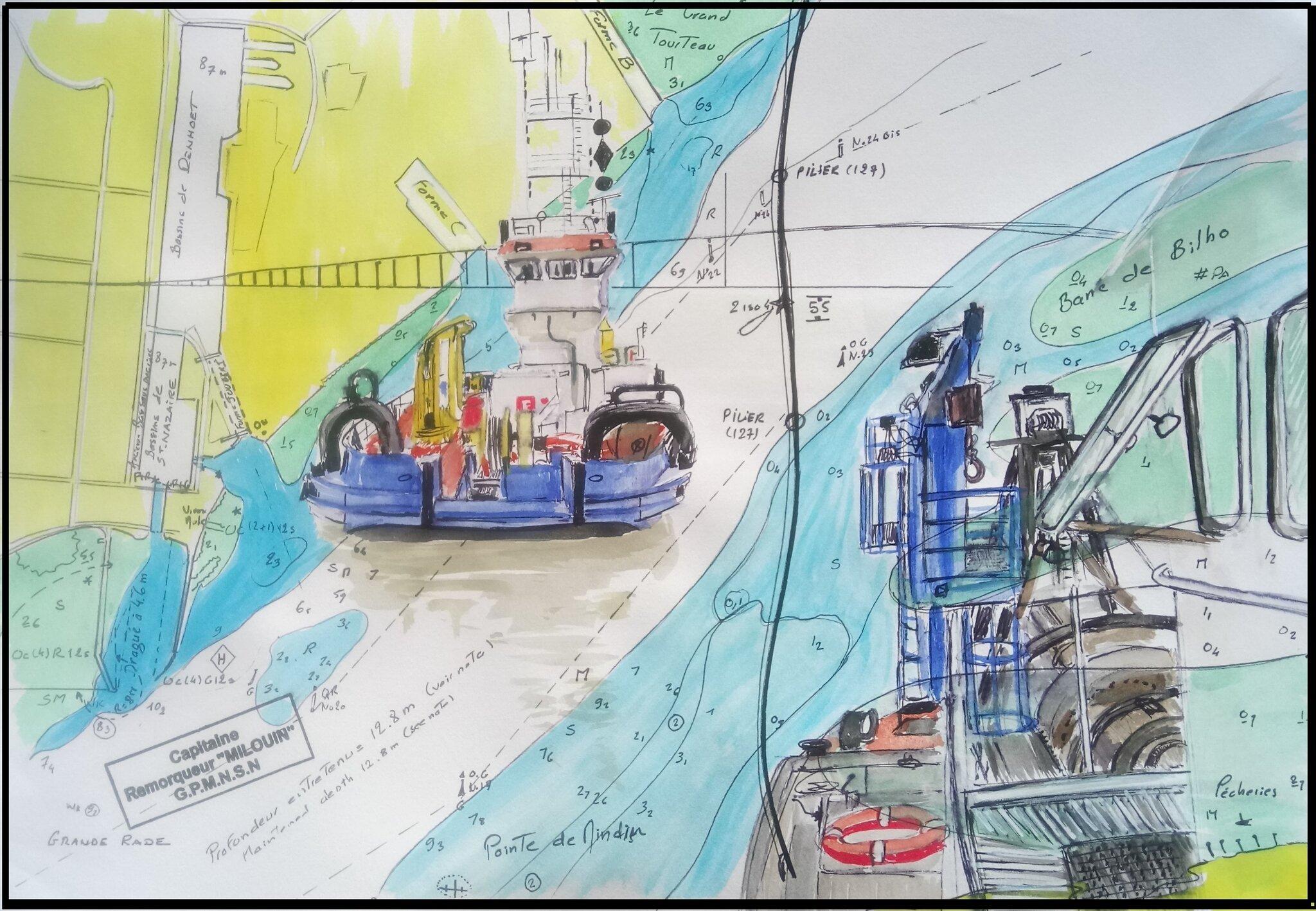 Aquarell 210 x 300 - Tug MILOUIN approaching dredger ANDRE GENDRE - 2017