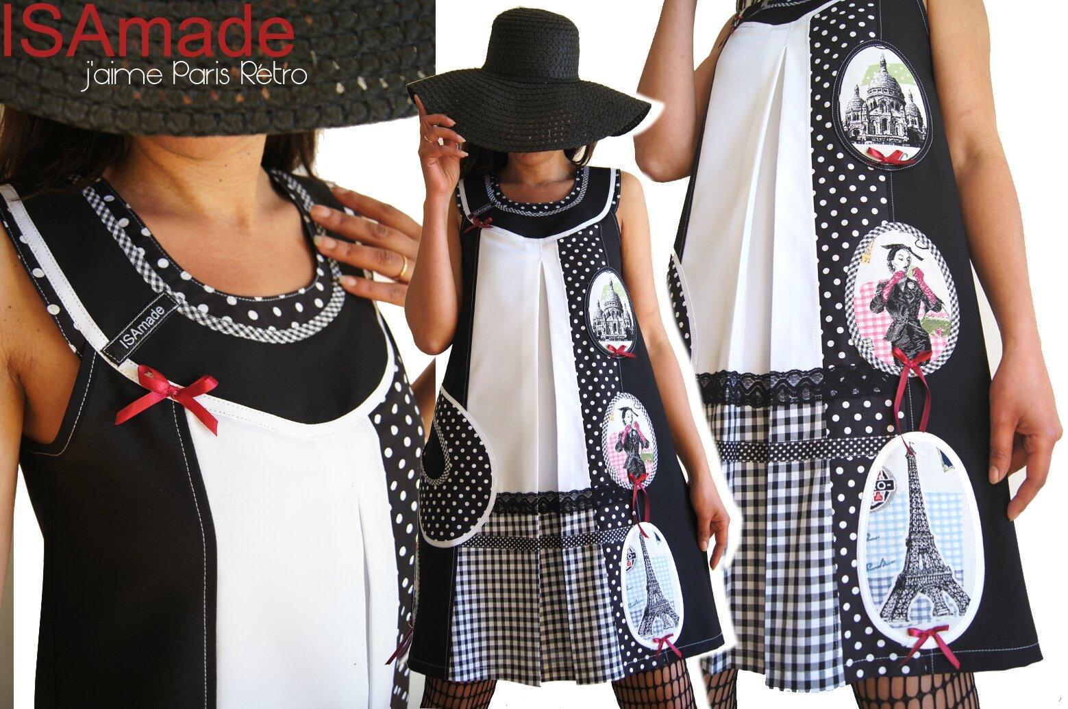 Une robe trapèze Noir blanc au look Graphique