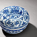 A blue and white 'cranes' box and cover with figures, mark and period of wanli (1573-1620)