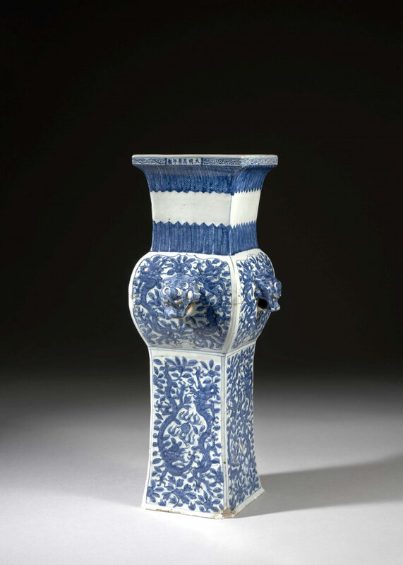 A large blue and white square beaker vase, Ming dynasty, Wanli mark and period (1573-1620)