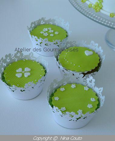 Cupacakes vert anis, blanc