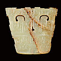 A celadon jade 'animal mask' plaque, eastern zhou dynasty, spring and autumn period (770-475 bc)