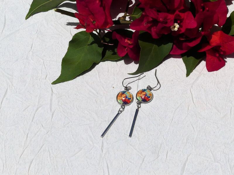 bijoux colores made in guyane par louise indigo fleurs oranges (13)