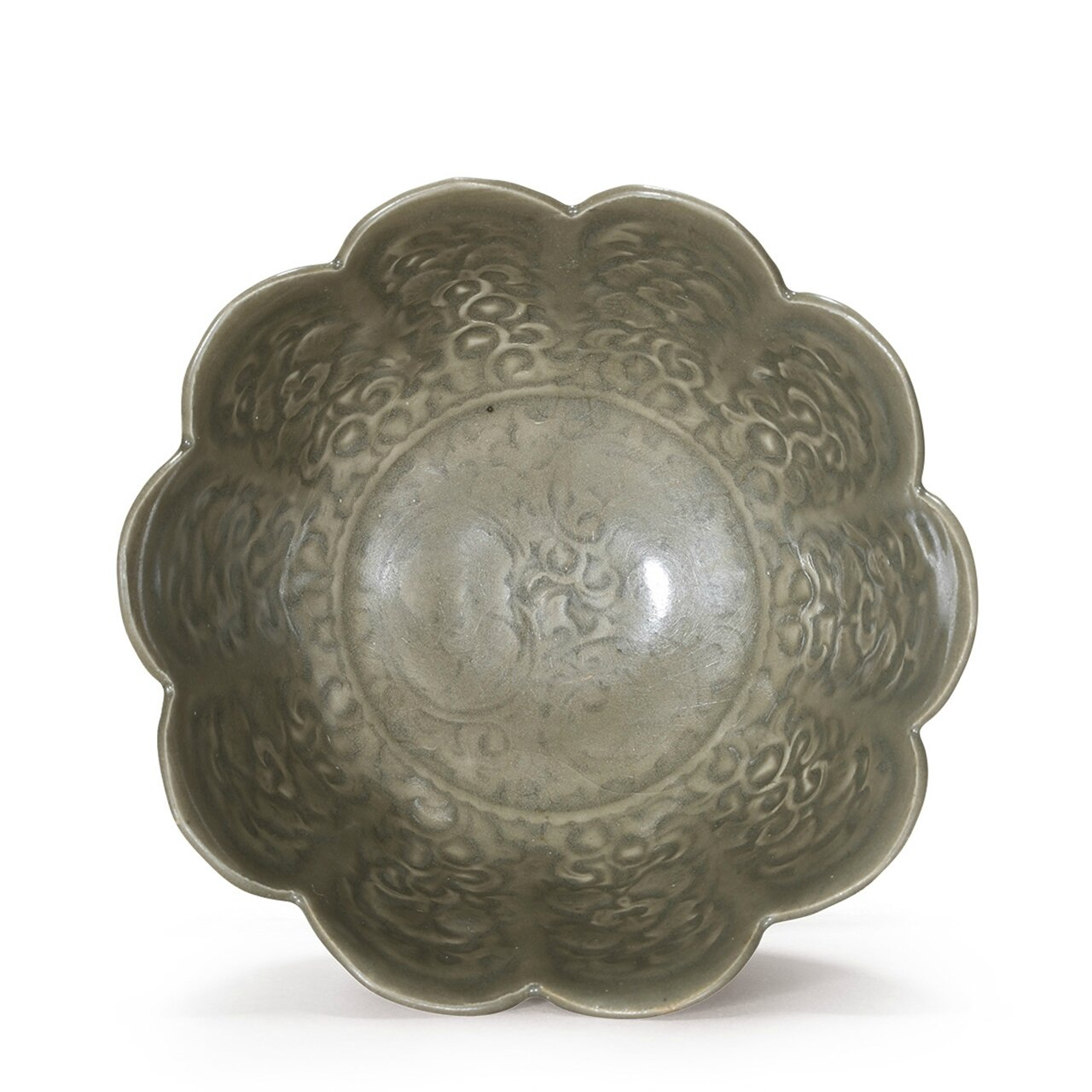 An extremely rare Yaozhou, molded floral bowl, Song Dynasty