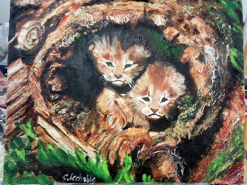 Lionceaux d'après photo, huile sur toile 2011