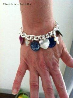 Bracelet personnalisé sur chaîne plaqué argent ovale porté